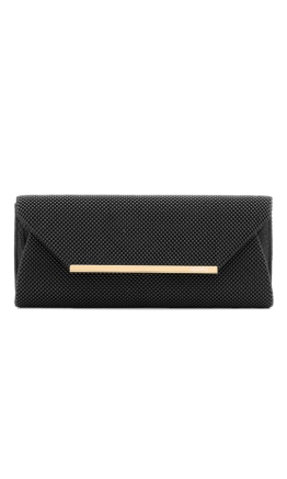 Olga Berg - Eloise Mesh Envelope Clutch - Black