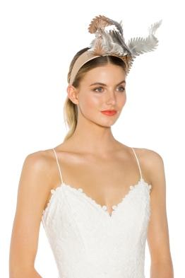 Olga Berg - Brooke Fascinator - Blush Silver - Side Model