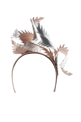 Olga Berg - Brooke Metallic Feathers Fascinator - Blush Silver - Front