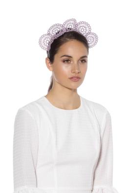 Olga Berg - Claire Lace Headband - Lavender - Front Model