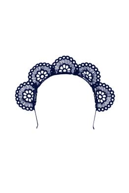 Olga Berg - Claire Lace Headband - Navy - Front