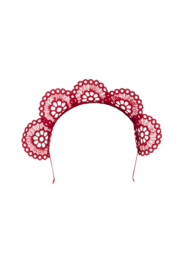 Olga Berg - Claire Lace Headband - Red - Front