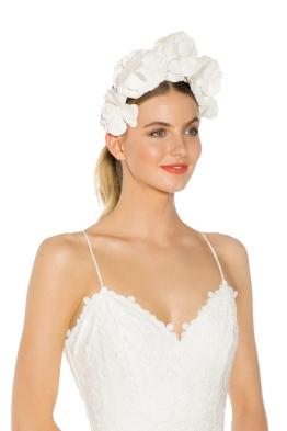 Olga Berg - Floral Fascinator - White - Side Model
