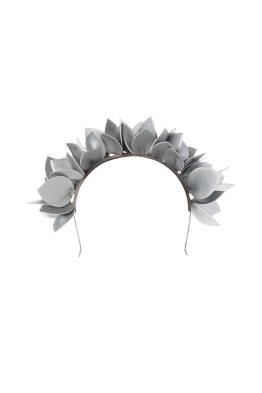 Olga Berg - Jess Floral Fascinator - Silver - Front