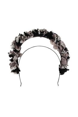 Olga Berg - Karlie Floral Halo Fascinator - Black - Front