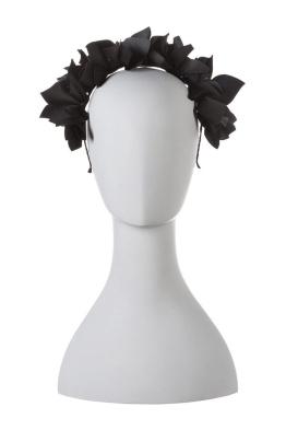 Olga Berg - Mae Floral Headband - Black - Front
