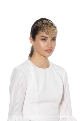 Olga Berg - Reyna Flora Headband - Gold - Front Model