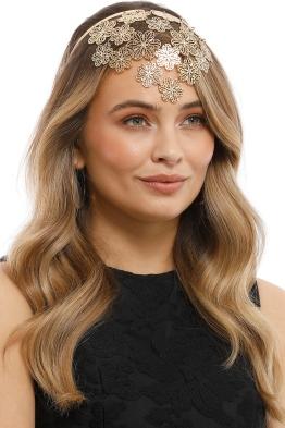 Olga Berg - Reyna Flora Headband - Gold - Model