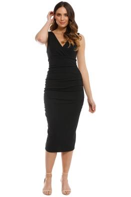 Pasduchas - Aperol Ruche Midi Dress - Black - Front