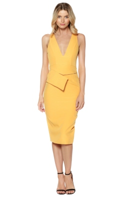 Premonition - Dynasty Midi Dres - Mango Yellow - Front