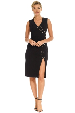 Rebecca Vallance - Adriatic Eyelet Midi Dress - Black - Front