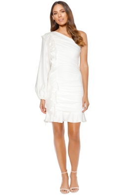 Rebecca Vallance - Argentine One Shoulder Mini Dress - White - Front