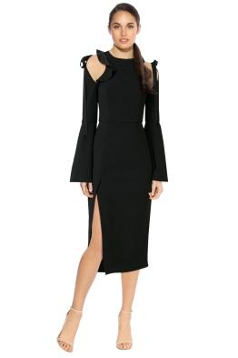 Rebecca Vallance - Gigi Ruffle Midi Dress - Black - Front