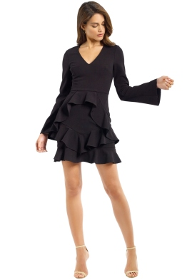Rebecca Vallance - Havana LS Mini Dress - Black - Front