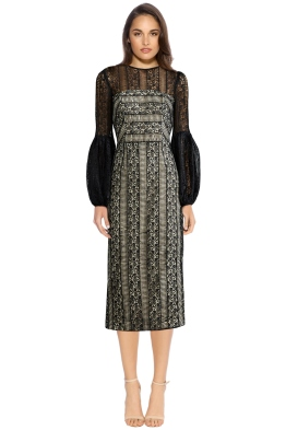 Rebecca Vallance - Lou Lou Gather Sleeve Dress - Black Lace - Front