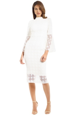 Rebecca Vallance - Mireya Flare Sleeve Dress - Ivory - Front