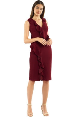Rebecca Vallance - Sylvette Midi Dress - Burgundy - Front