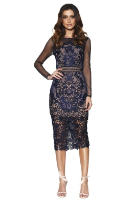 Grace & Hart - Renaissance Midi Dress - Navy - Front