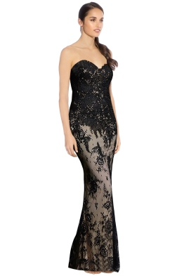 Rose Noir - Bella Lace Gown - Black Nude - Side