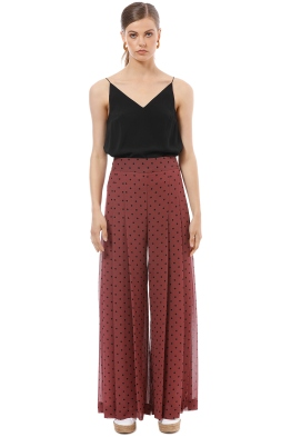 See by Chloe - Pleated Polka Dot Pant - Burgundy - Front