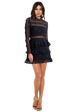Self-Portrait - Ava Guipure Lace Mini Dress - Navy - Front