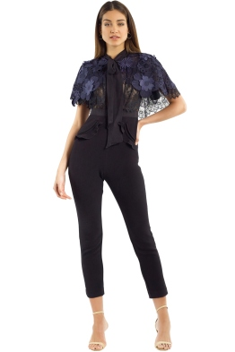 Self Portrait - 3D Floral Mesh Cape Jumpsuit - Black - Front