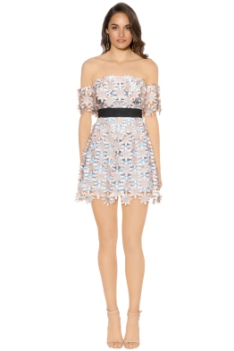 Self Portrait - 3D Floral Mini Dress - Blue Pastel - Front