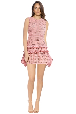 Self Portrait - Crosshatch Frill Mini Dress - Pink - Front