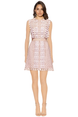 Self Portrait - Daisy Vine Mini Dress - Pink - Front