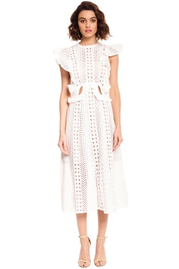 Embroidered Cut-Out Midi Dress - White