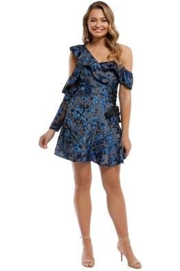Self Portrait - Eyelet Wrap Mini Dress - Blue - Front