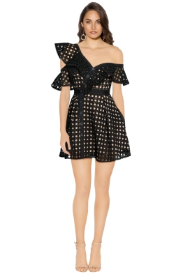 Self Portrait - Guipure Frill Mini Dress - Black - Front