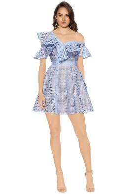 Self Portrait - Guipure Frill Mini Dress - Blue - Front