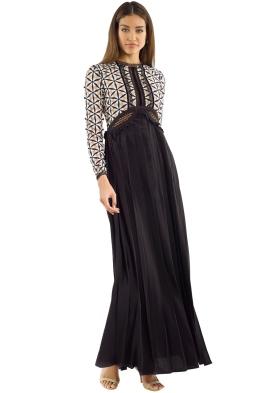 Self Portrait - Guipure Maxi Dress with Waist Cutout - Black White - Front