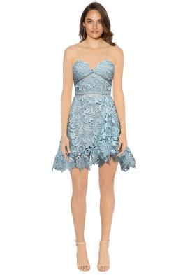 Self Portrait - Paisley Vine Mini Dress - Blue - Front