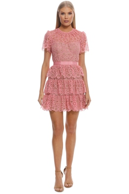 Self Portrait - Pink Tiered Dress - Pink - Front