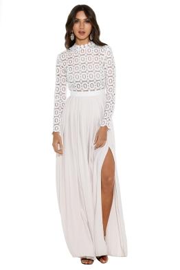 Self Portrait - Pleated Crochet Floral Maxi Dress - White - Self Portrait - Pleated Crochet Floral Maxi Dress - White - Front