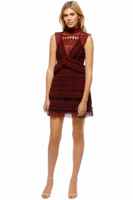 Self Portriat - Teardrop Guipure Panelled Dress - Burgundy - Front