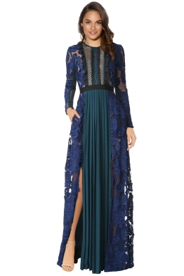 Self Portrait - Thea Maxi Dress - Green Blue - Front