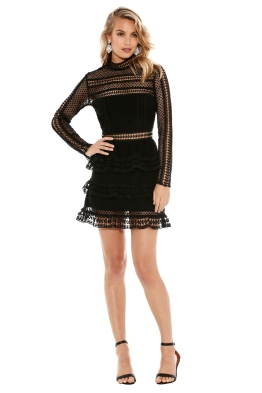 Self Portrait - Tiered Guipure Lace Mini Dress - Front