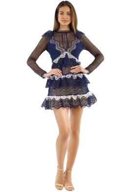 Self Portrait - Wave Guipure Mini Dress - Navy - Front