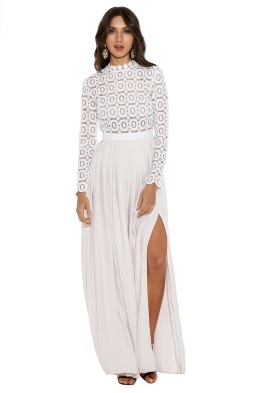 Self Portrait - Pleated Crochet Floral Maxi Dress - Front