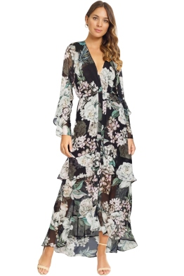 Sheike - Midnight Blooms Dress - Black Floral - Front