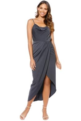 Shona Joy - Core Lace Up Cowl Maxi Dress - Gray - Front