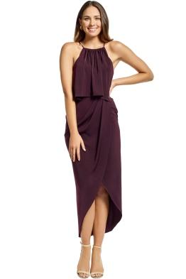 Shona Joy - Frill High Neck Drape Maxi Dress - Aubergine - Front