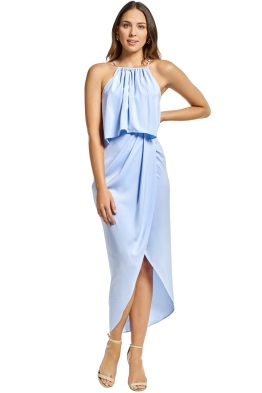 Shona Joy - Frill High Neck Drape Maxi Dress - Cornflower Blue - Front