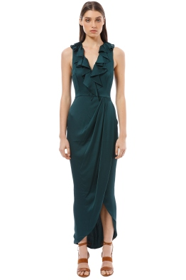 Shona Joy - Plunge Frill Dress - Emerald Green - Front