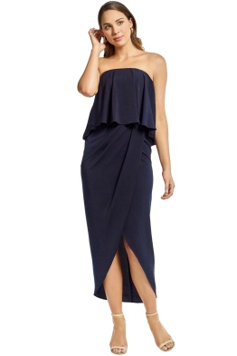 Shona Joy - Strapless Frill Drape Maxi Dress - Navy - Front