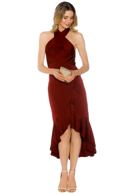 Shoshanna - Boswell High Low Dress  - Red - Front