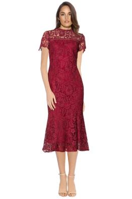 Shoshanna - Park Midi Dress - Front - Red